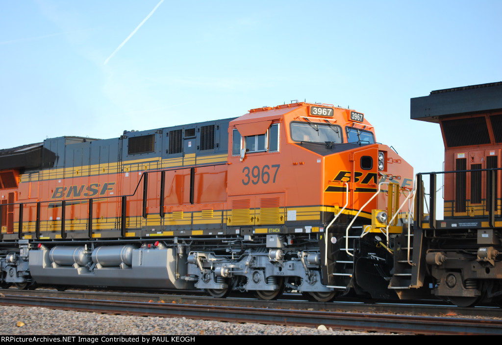 A Close Up of BNSF 3967 as the rising Texas sun's Rays
