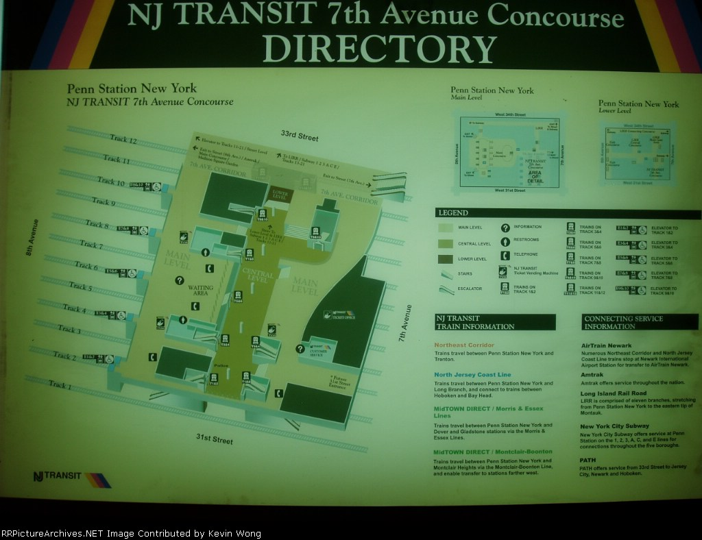 NJ Transit Penn Station concourse map