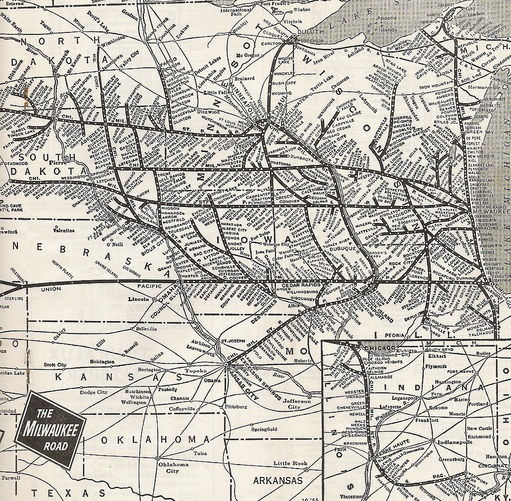 Image of: 1956 Milwaukee Road Midwest System Map