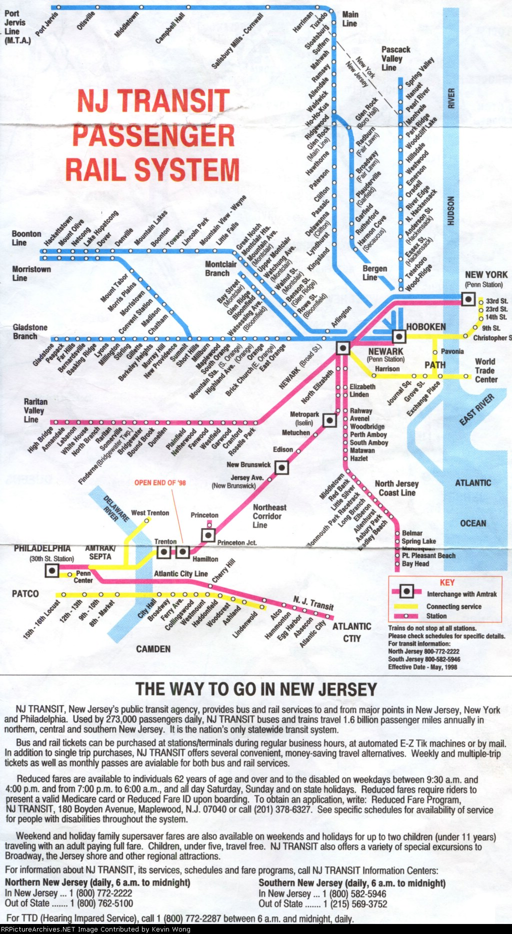 NJ Transit system map/guide, effective May 1998