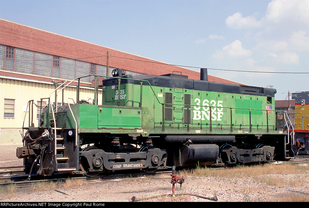 BNSF 3635, EMD SW10B, at the BNSF Clyde Yard