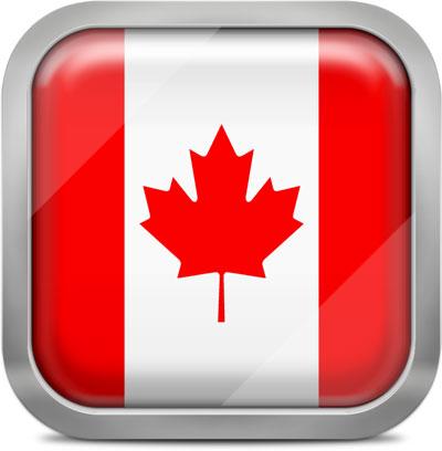 Canada squared flag button