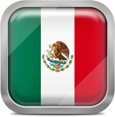Mexico squared flag button