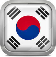 South korea squared flag button