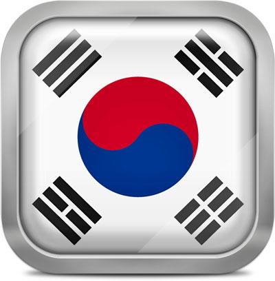South korea squared flag button