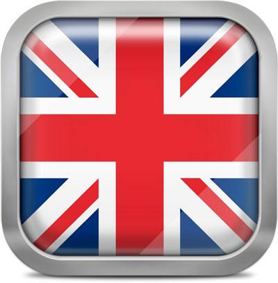 United kingdom squared flag button