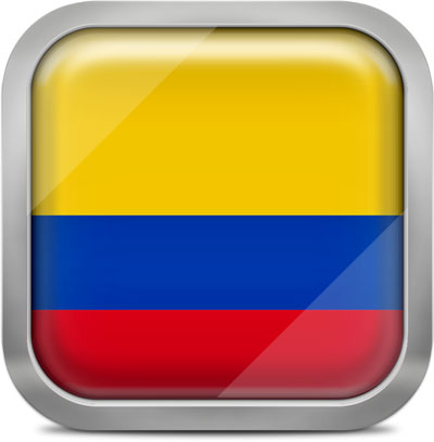 Colombia squared flag button