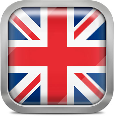 United kingdom squared flag button