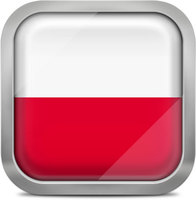 Poland squared flag button