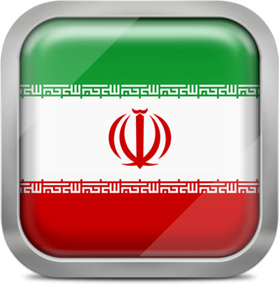 Iran squared flag button