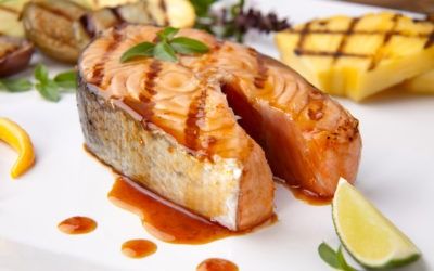 Grilled Salmon Fillet with Spicy Blackberry Sauce