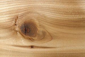 Closeup of red cedar plank showing knot texture and natural wood