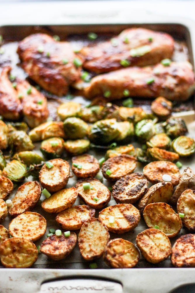 BBQ Chicken and Spicy Potato Sheet Pan Dinner