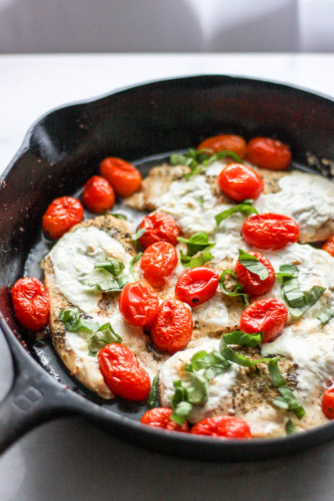 One Pan Skillet Caprese Chicken Bake