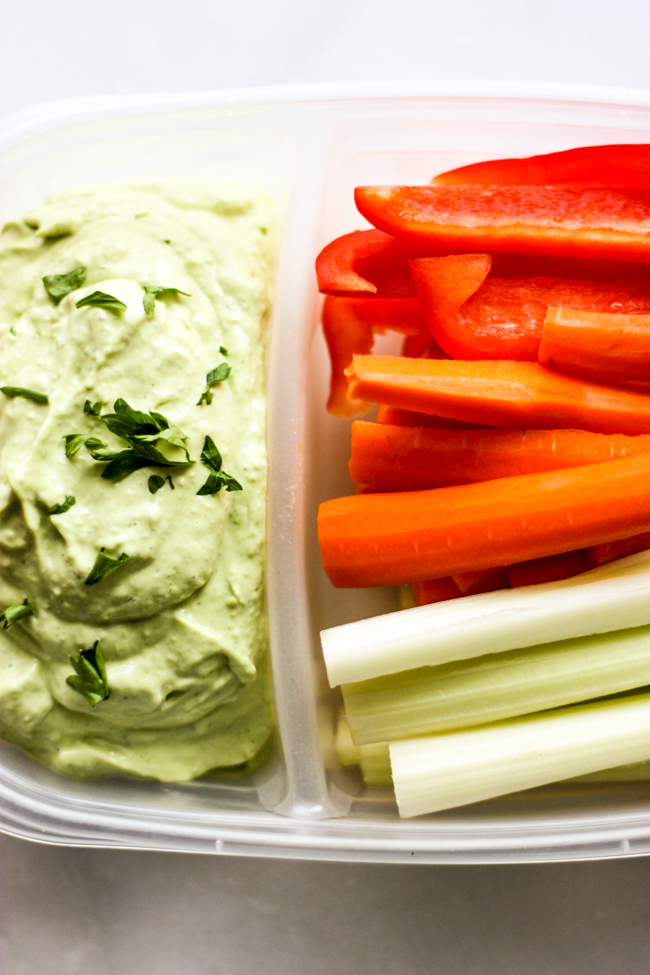 Paleo Fresh Herbed Ranch Dip and Veggies