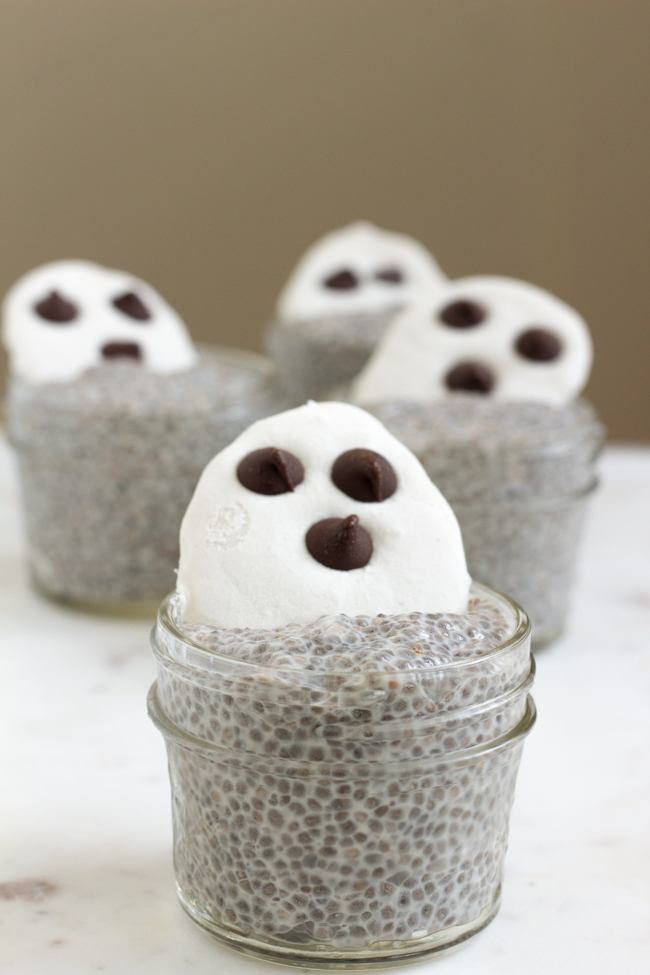Ghoulish Ghost Breakfast Chia Pudding
