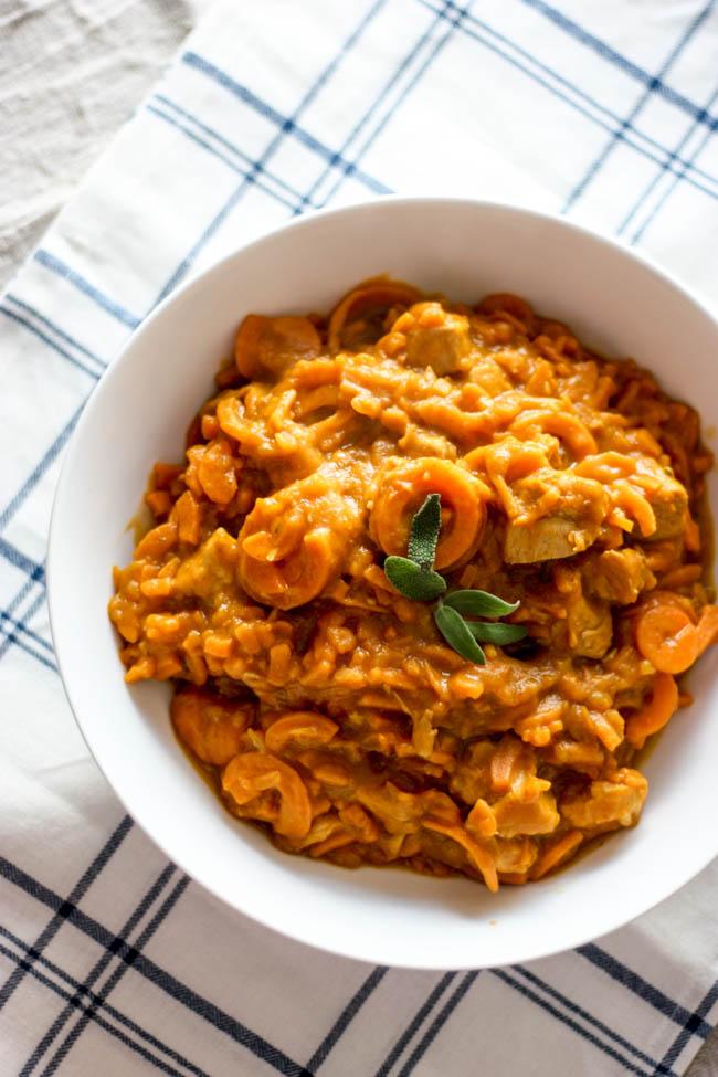 Pumpkin Sweet Potato Pasta with Chicken