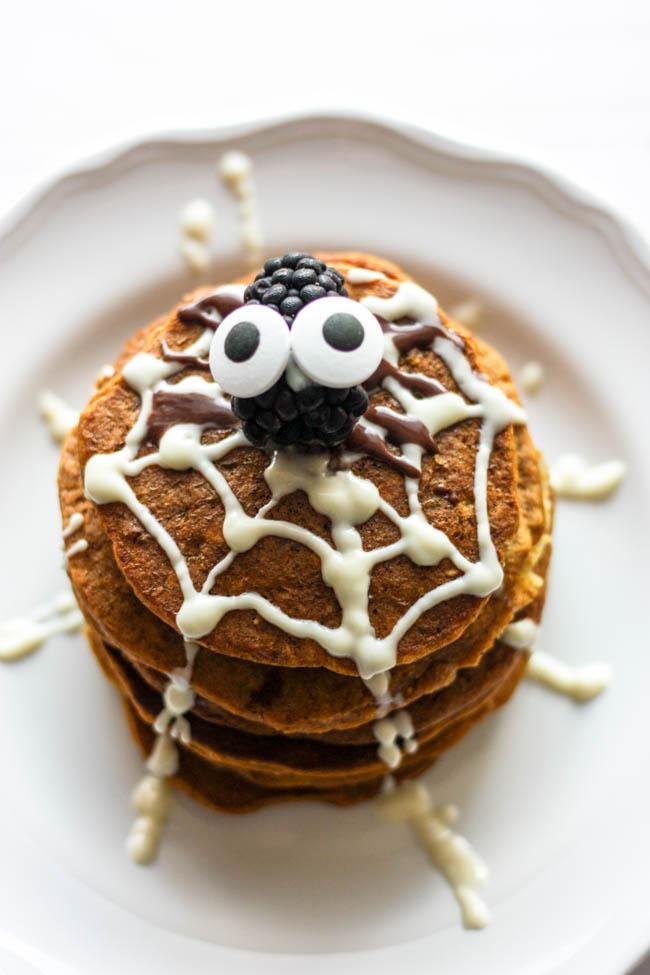 Spider Web Pumpkin Pancakes