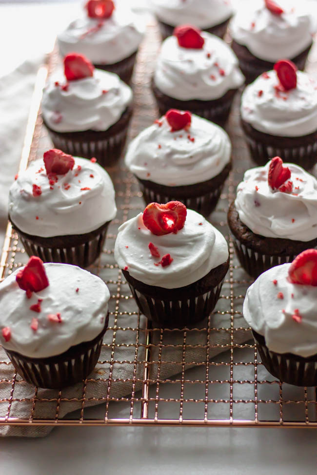 Whole Wheat Double Chocolate Cupcakes with Dairy Free Strawberry Icing