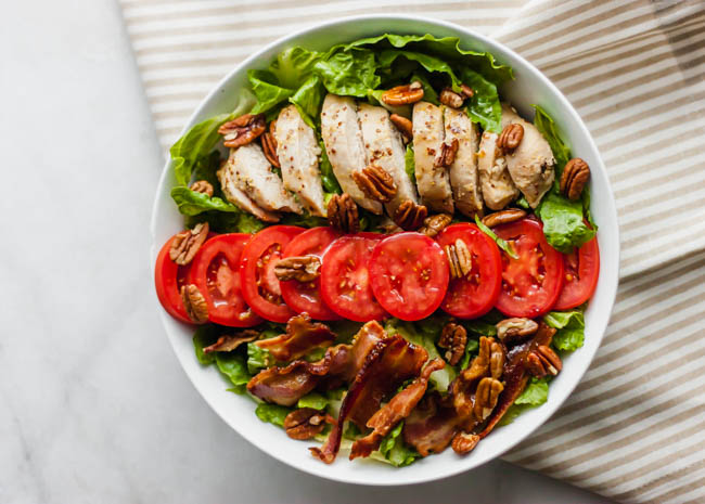 Chicken BLT Salad with Warm Maple Bacon Vinaigrette