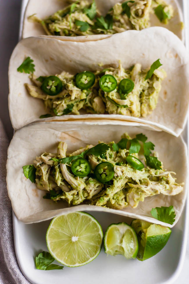 The best kind of taco involves avocado and chicken. If you've got a guacamole and taco craving, these are for you!