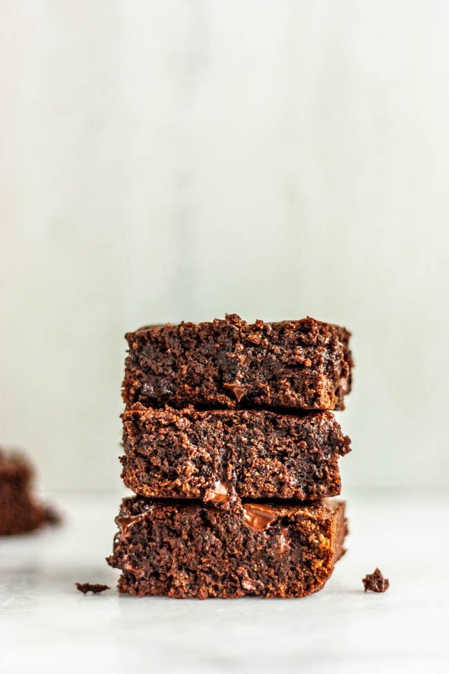 Rich Bourbon Chocolate Chip Brownies are gooey, chocolatey and have a touch of bourbon for a flavor anyone would love...especially dad.