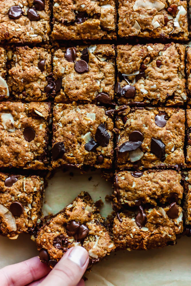 Grain Free Pecan Coconut Cookie Bars have rich, chocolate chunks folded into gluten free cookie bars and extra crunch and flavor from pecans and coconut.