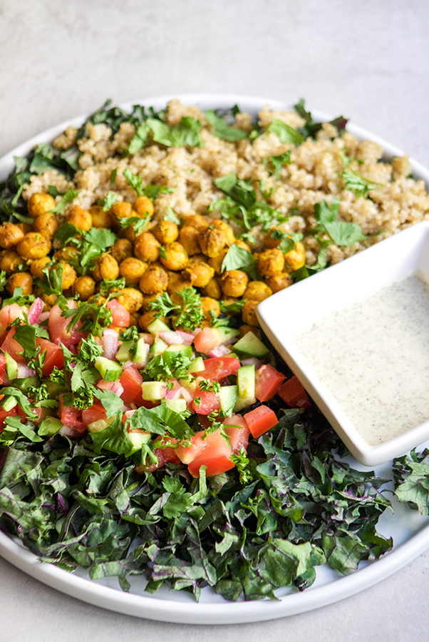 With summer fast approaching, we're always looking for quick and easy meals to share at summer BBQ's and this Chickpea Shawarma Salad fits the bill!