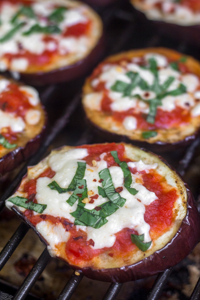 Swap out crust for a low carb appetizer - Grilled Eggplant Pizzas!