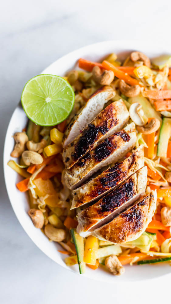 On a hot day, sometimes the best cure for beating the heat is a crunchy, cool salad like this Chopped Thai Cashew Chicken Salad.