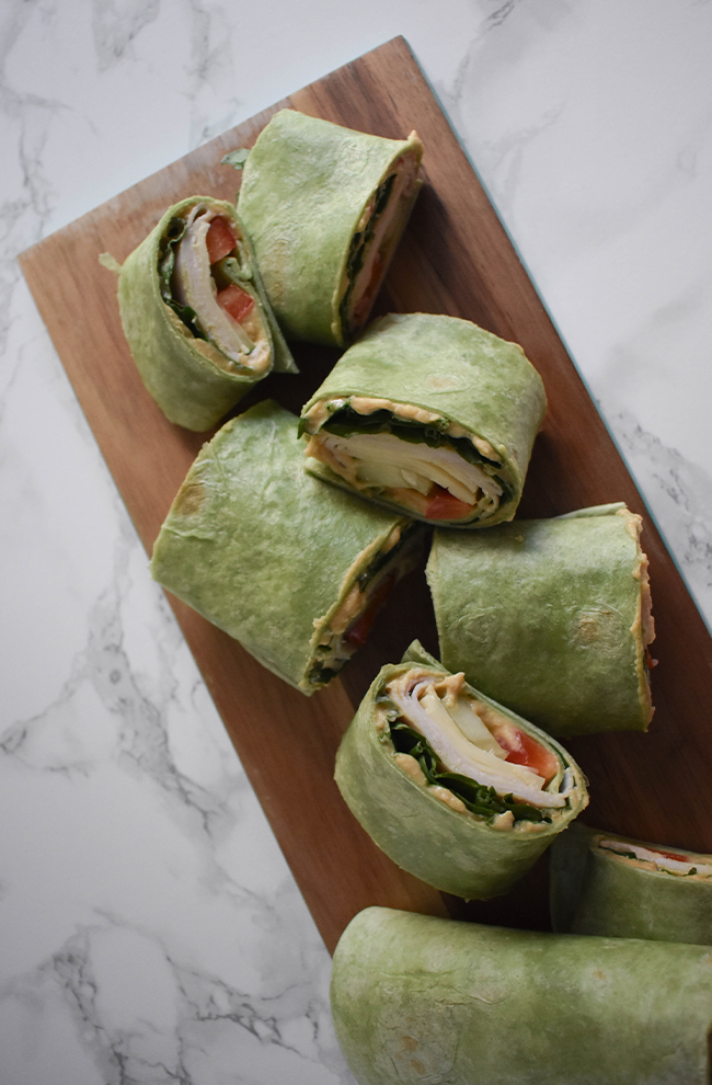 These turkey and hummus roll-ups are the perfect snack and can easily be customized to your preferences.