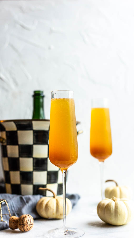 All you need for the perfect cocktail is some champagne and some pumpkin simple syrup in this Pumpkin Spice Mimosa!