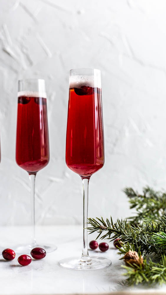 These Cranberry Beer-Mosas are festive, fun and a cinch to make.