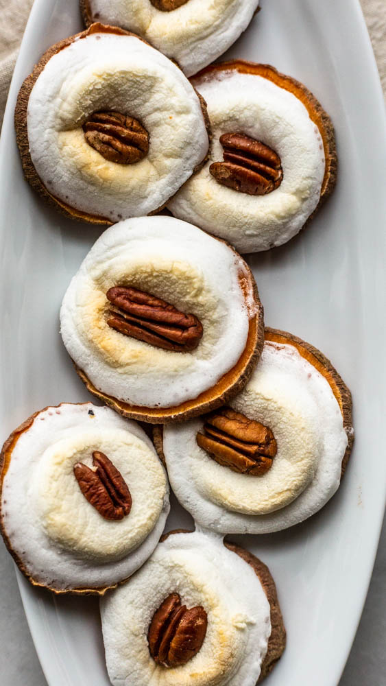 Sweet Potato Marshmallow Pecan Melbas are an easy, sweet and healthy appetizer to serve to a gluten-free crowd.