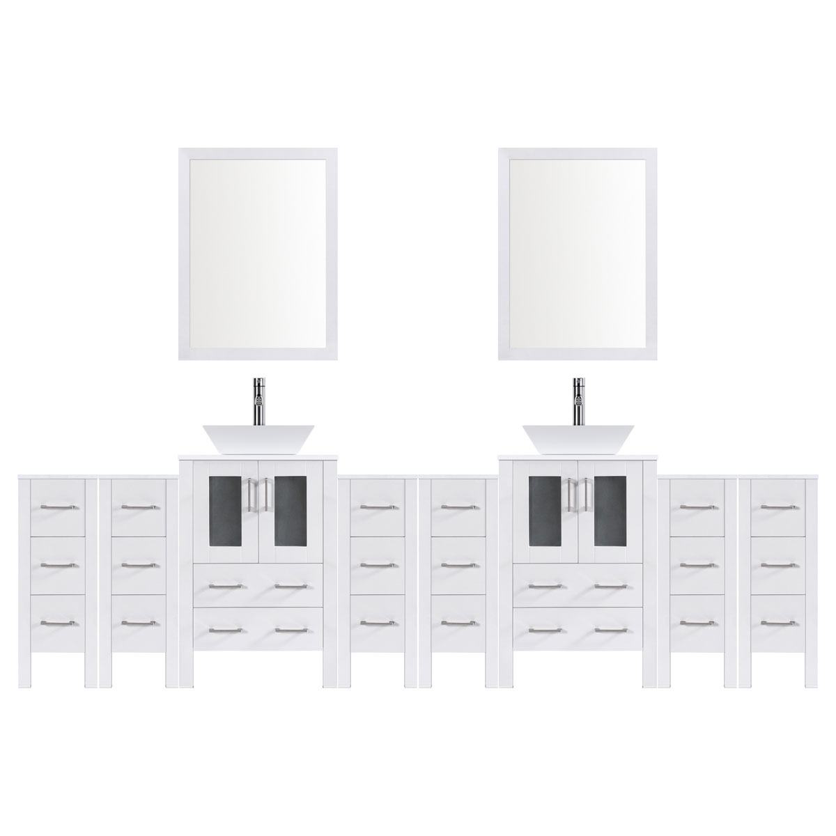 "120"" Modern Bathroom Vanity Set with Mirror and Sink LV2-C28-120-W (White)"