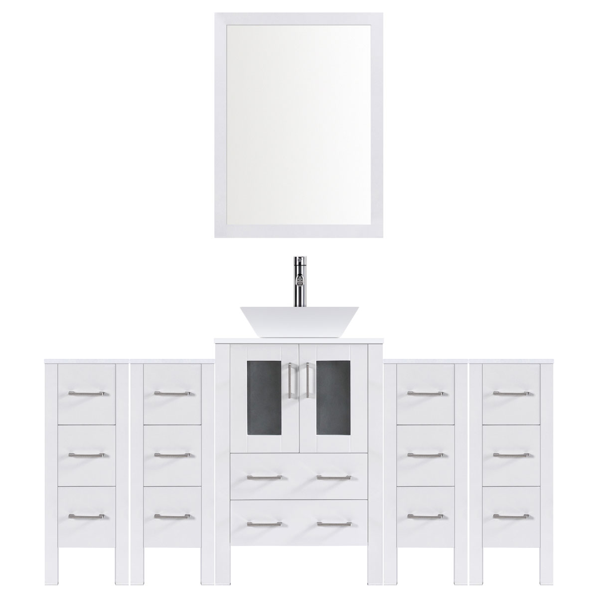 "84"" Modern Bathroom Vanity Set with Mirror and Sink LV2-C9-84-W (White)"