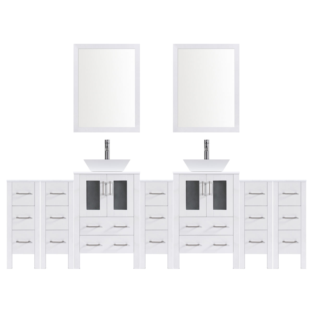 "120"" Modern Bathroom Vanity Set with Mirror and Sink LV2-C26-120-W (White)"