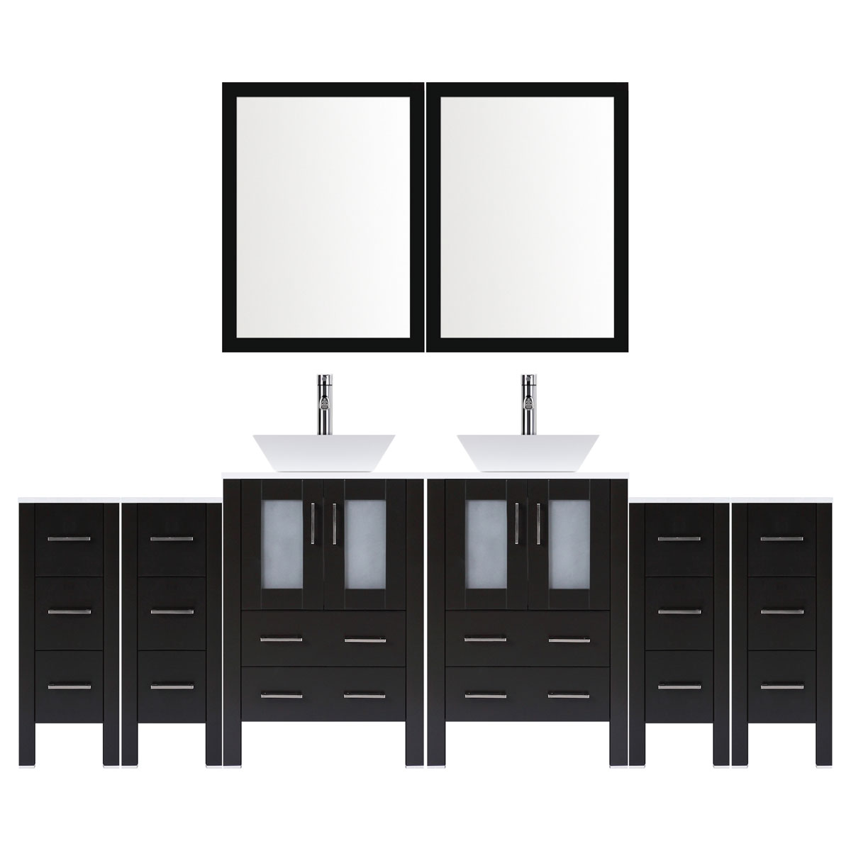 "96"" Modern Bathroom Vanity Set with Mirror and Sink LV2-C22-96-B (Espresso)"