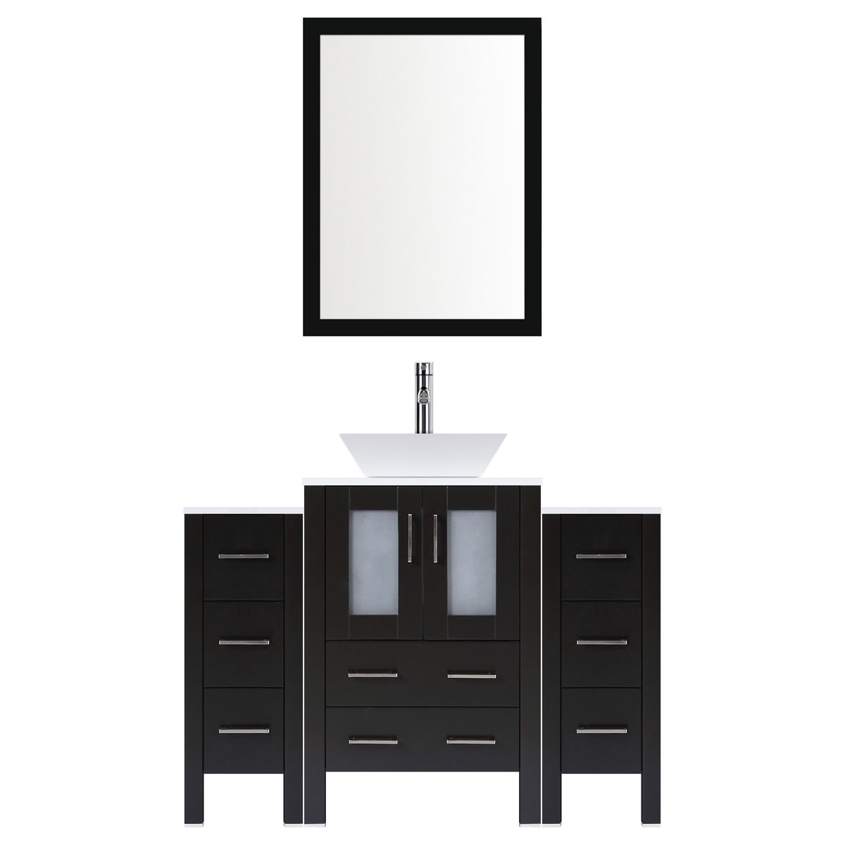"54"" Modern Bathroom Vanity Set with Mirror and Sink LV2-C5-54-B (Espresso)"