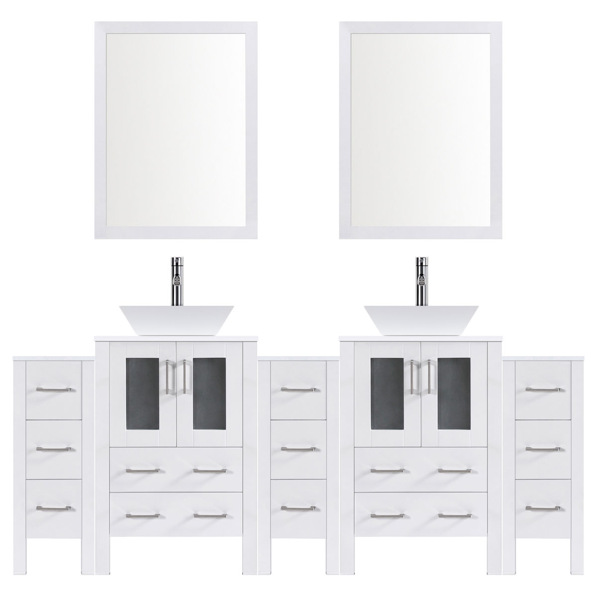 "96"" Modern Bathroom Vanity Set with Mirror and Sink LV2-C20-96-W (White)"