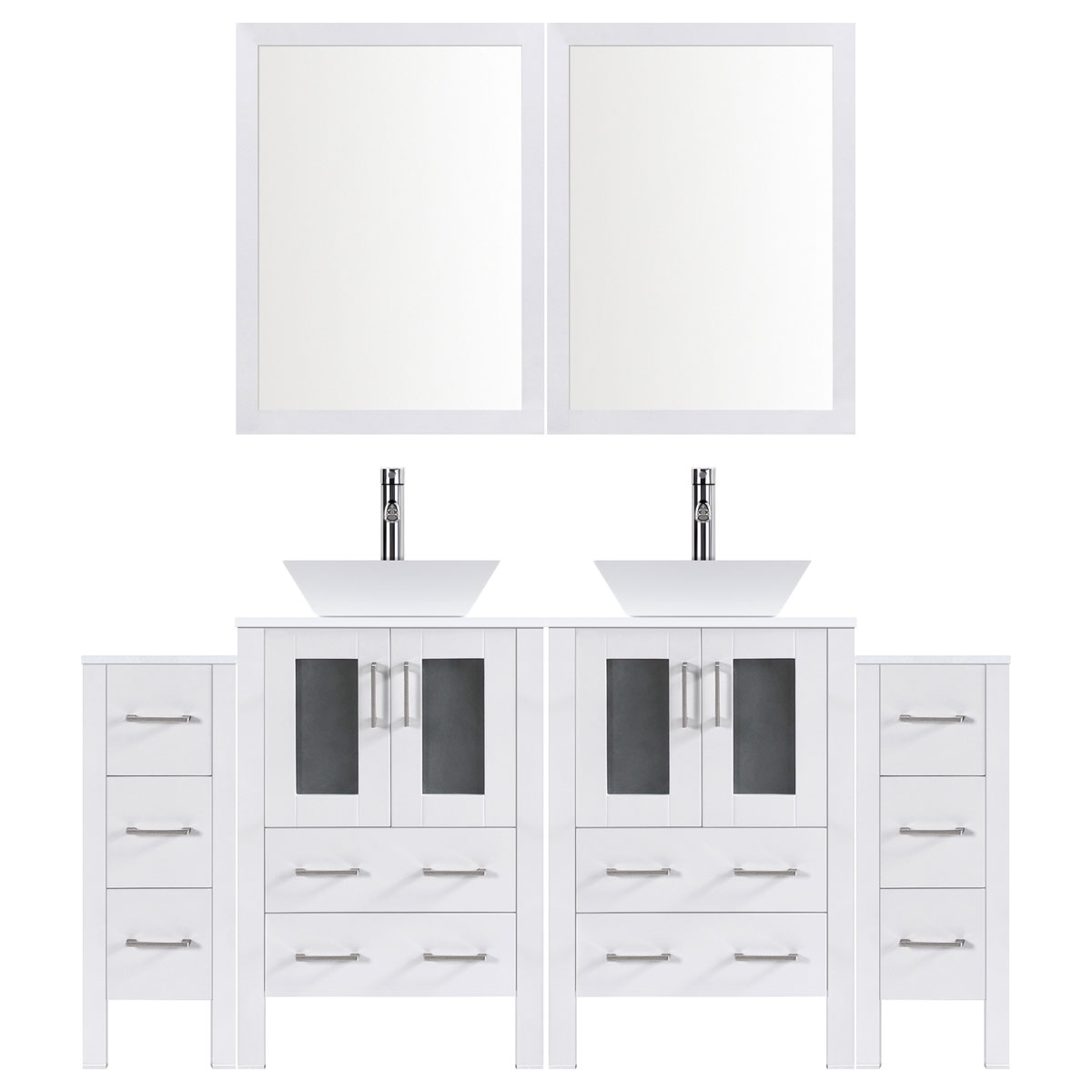 "96"" Modern Bathroom Vanity Set with Mirror and Sink LV2-C18-96-W (White)"