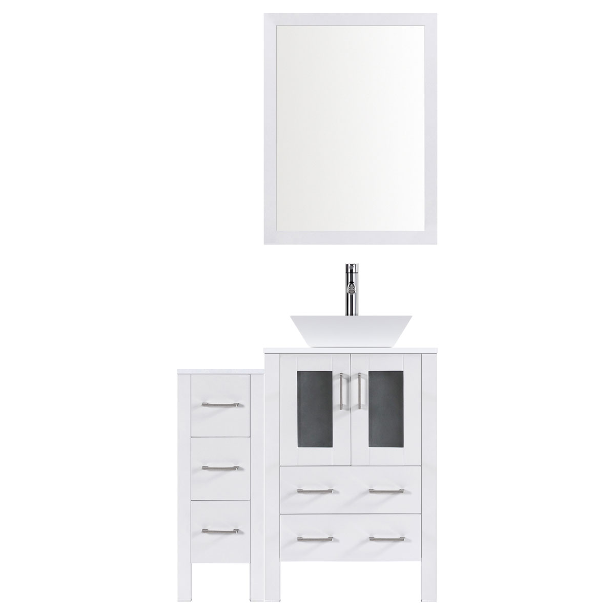 "42"" Modern Bathroom Vanity Set with Mirror and Sink LV2-C2-42-W (White)"