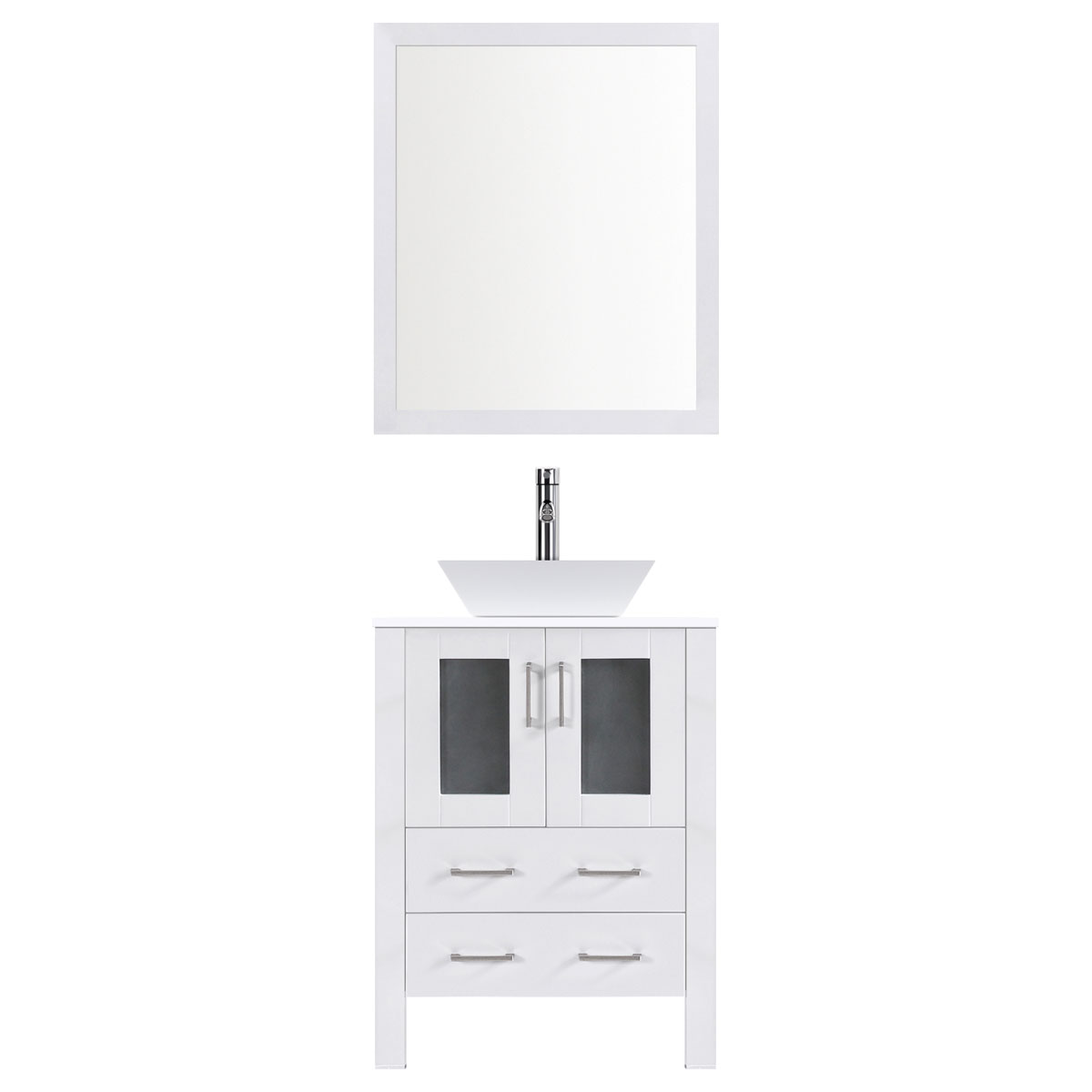 "30"" Modern Vanity Sink Base with Mirror and Vessel Sink (White)"