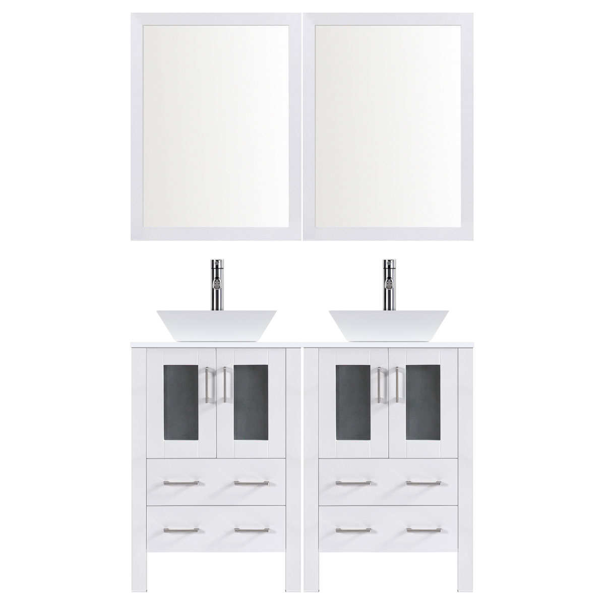 "48"" Modern Bathroom Vanity Set with Mirror and Sink LV2-C10-48-W (White)"