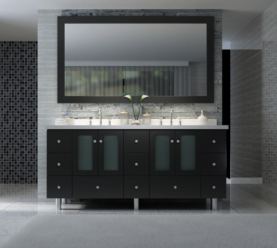 "ARIEL Americano 73"" Double Sink Vanity Set in Black"