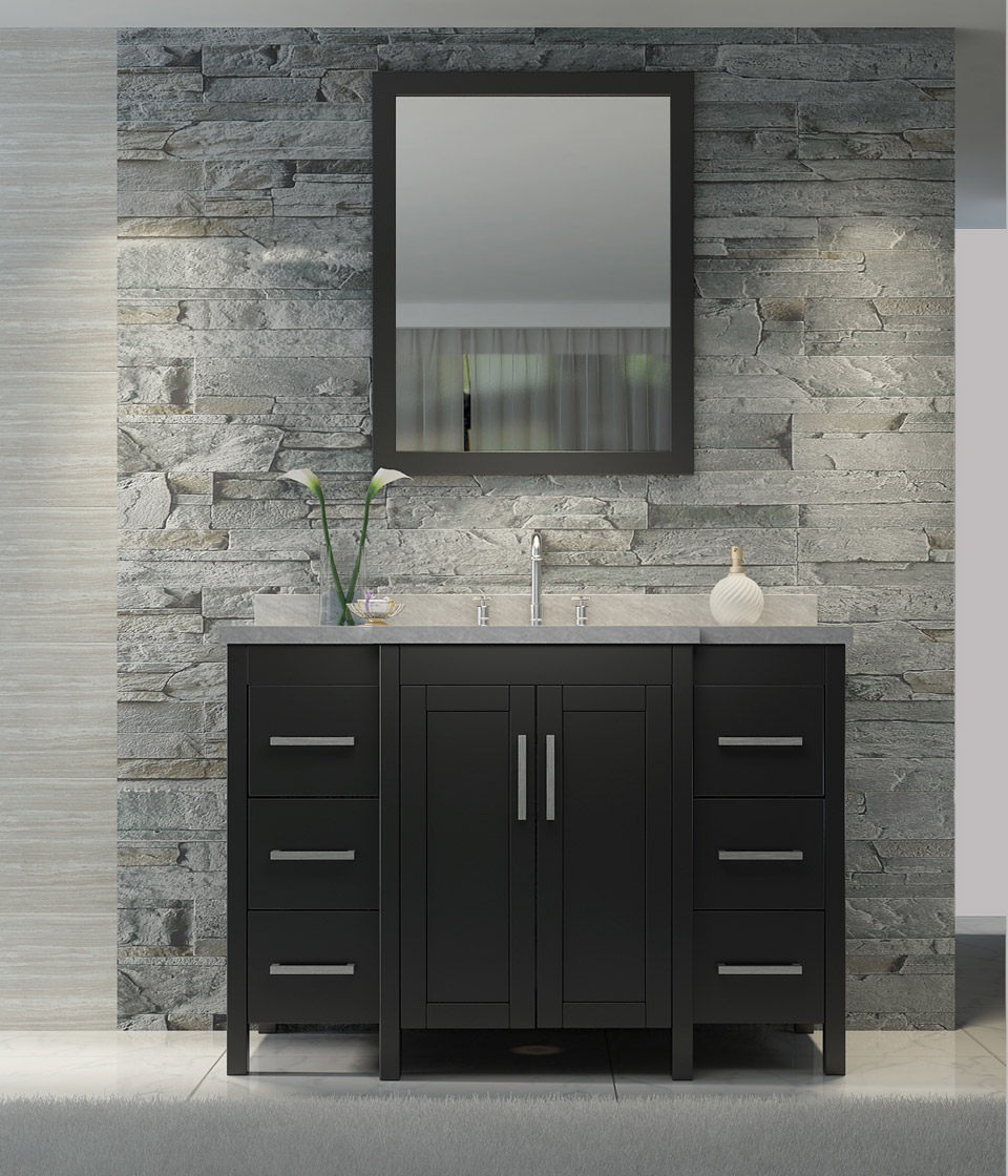 "ARIEL Hollandale 49"" Single Sink Vanity Set in Black"