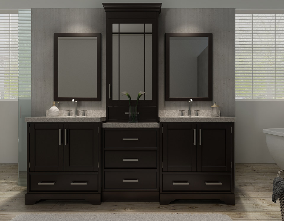 "ARIEL Stafford 85"" Double Sink Vanity Set in Espresso"