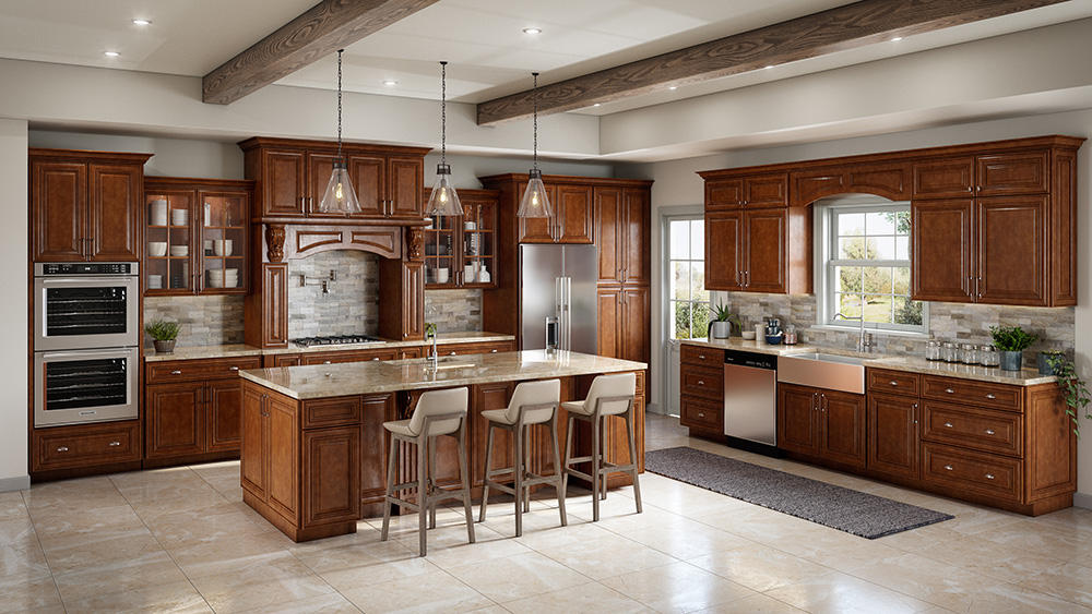 Burnished Brandy Kitchen Cabinets Rta Cabinet Store