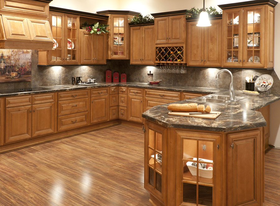 Superb Butterscotch Glazed Kitchen Cabinets