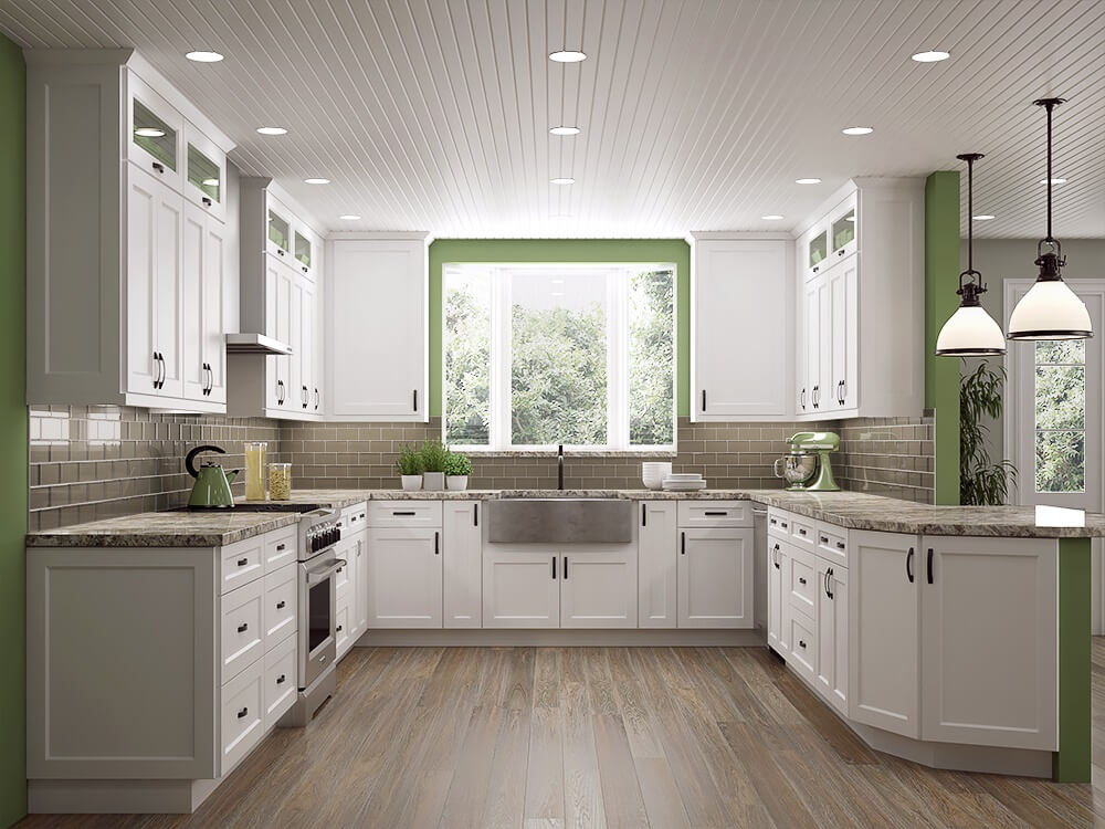 Frosted white shaker kitchen cabinets rta cabinet store for Shaker kitchen cabinets